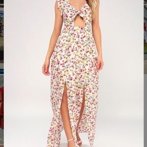 floral print long dress with two front slits